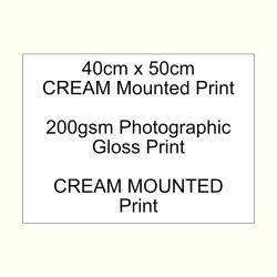 40cm x 50cm mounted CREAM 200gsm Gloss custom print